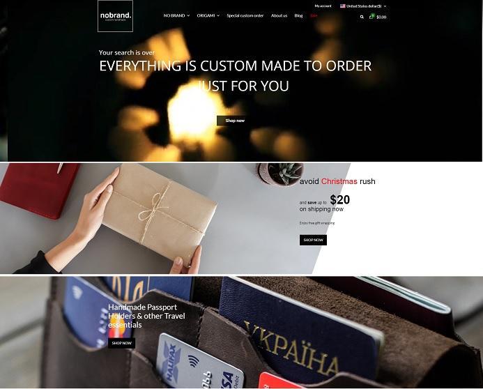 Интернет-магазин заказа уникальных вещей из итальянской кожи с доставкой по всему миру «NO BRAND»